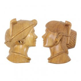 Pair Of Carved Wood Profiles