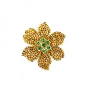 Vintage Gold Flower With Rhinestones Napier Brooch