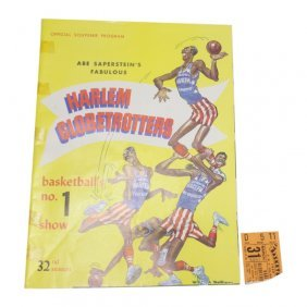 1959 Harlem Globetrotters Program & Ticket Stub