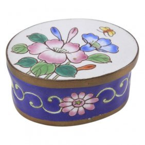 Enamel On Copper Hand Painted Floral Trinket Box