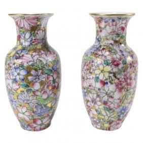 Painted Porcelain Vase Pair