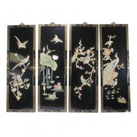 4 Chinese Carved Hardstone Panels Birds