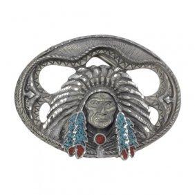 Native American Pewter Belt Buckle