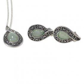 Sterling Jade Necklace Earring Set