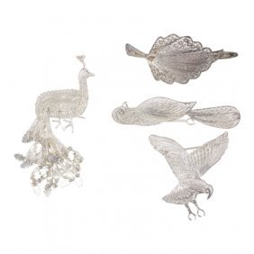 Vintage Sterling Filigree Pin Brooches Clips