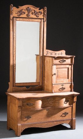1116 A Victorian Oak Gentleman S Dresser Swivel Dressi