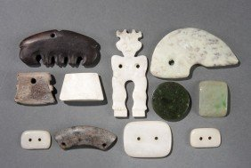CHINESE CARVED JADE AND HARDSTONE GROUP