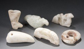 6 PC CHINESE CARVED JADE & HARDSTONE GROUP