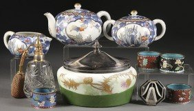 A PORCELAIN AND GLASS DECORATIVE ARTS GROUP