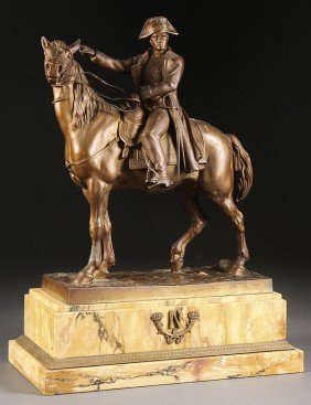 A LARGE FRENCH FIGURE OF NAPOLEON ON HORSE BACK