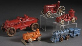 FIVE EARLY CAST IRON VEHICLES