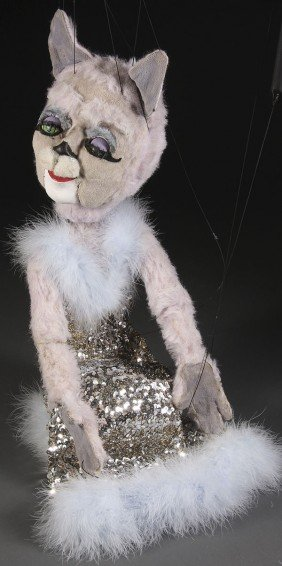 A WOOD MARIONETTE CAT, MID 20TH CENTURY