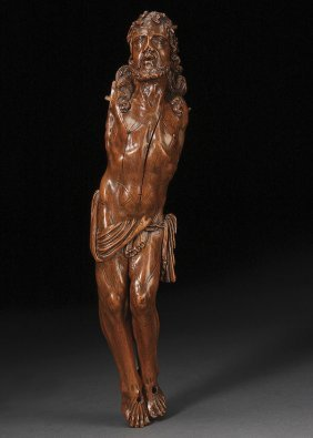 A FINE CARVED FRUITWOOD CORPUS, FLEMISH, 17TH C.
