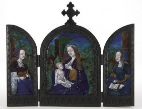 LIMOGES ENAMELED TRIPTYCH OF THE MADONNA & CHILD