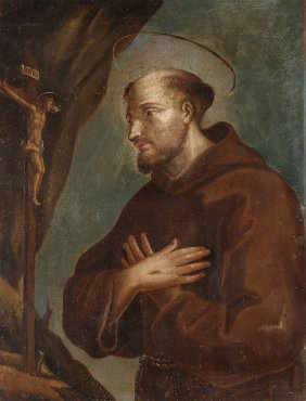 OLD MASTER OIL PAINTING, ST. FRANCIS OF ASSISI