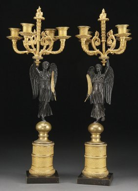 EMPIRE REVIVIAL VICTORY GILT BRONZE CANDELABRA