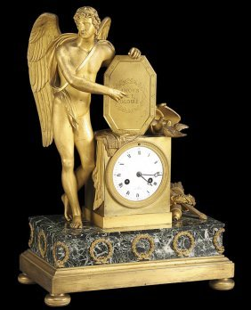 FRENCH EMPIRE GILT BRONZE & MARBLE CUPID CLOCK