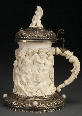 SILVER MOUNTED CARVED IVORY GEMSONE SET TANKARD