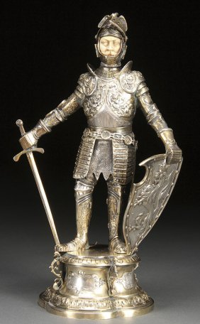 SILVER & CARVED IVORY MEDIEVEL KNIGHT