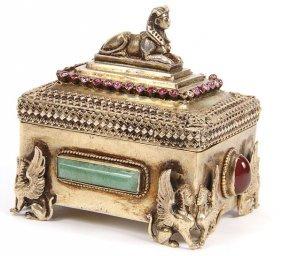 EGYPTIAN SILVER-GILT & GEMSTONE MOUNTED SNUFF BOX