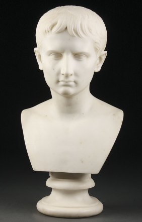 ITALIAN CARVED MARBLE BUST OF CAESAR