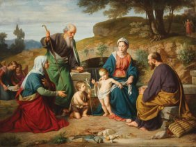 Spectacular Holy Family Signed & Dated 1890