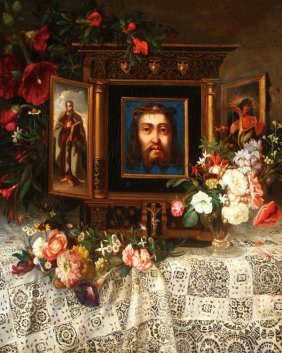 Very Fine Religious Still Life Signed, 1848