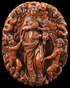 German Carved Fruitwood Madonna, 17th Century
