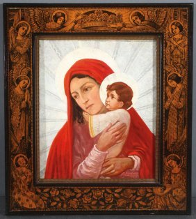 Interesting Madonna & Child Painting, Dated 1935