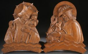Interesting Art Deco Carved Religious Plaques