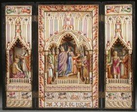 Large Rare Capo-di-monte Triptych C. 1890