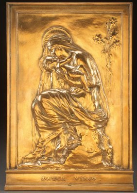 A French Bronze Plaque Of The Virgin, Ch. Pillet