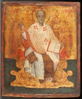 Greek Icon St Nicholas 18th C