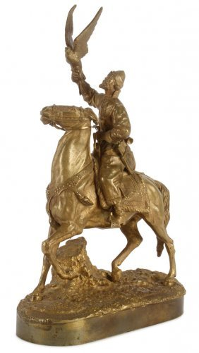 Russian Bronze Of Falconer By Naps