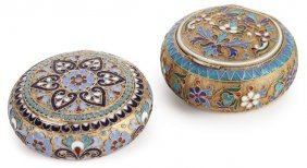 Two Russian Silver & Enamel Pill Boxes, C 1890