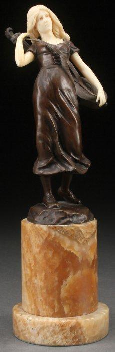 German Bronze & Ivory Sculpture Circa 1925