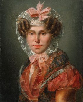 French 19th Century Portrait Of Young Woman
