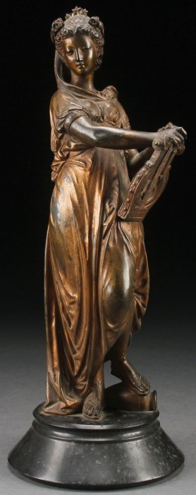19th Century French Bronze Of Sapho, Signed