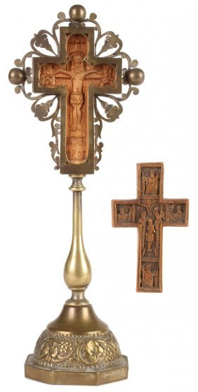 A Pair Of Carved Boxwood Crosses, Greek & Russian