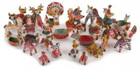 30 Unique Russian Folk Art Dymkovo Toys, C 1930