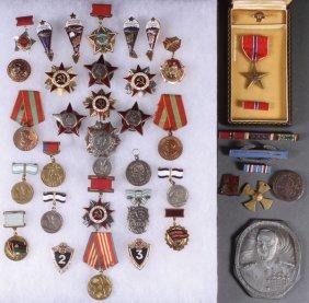 34 Russian Soviet Badges, Circa 1945-1995