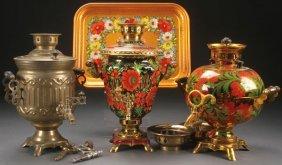Three Russian Soviet Brass Samovars, Circa 1995