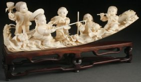 Chinese Carved Ivory Figural Group, Circa 1950