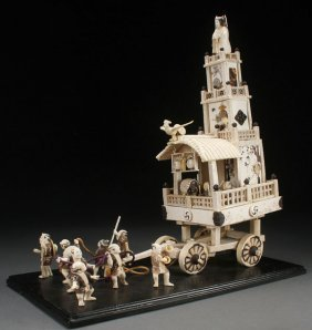 A Japanese Carved Ivory Shibayama Cart Model, Meiji
