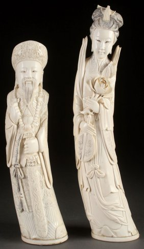 A Pair Of Chinese Carved Ivory Figures
