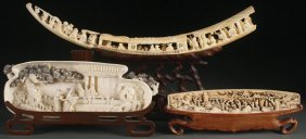 A Three Piece Group Of Chinese Carved Ivory