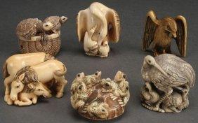 6 Pc Group Of Japanese Carved Netsukes & Okimonos