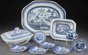 10 Pcs Chinese Export Canton Blue&white Porcelain