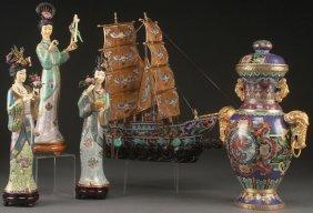 An Oriental Cloisonne Group
