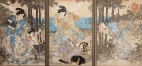 Woodblock Triptych, Kunisada-toyokuni Iii